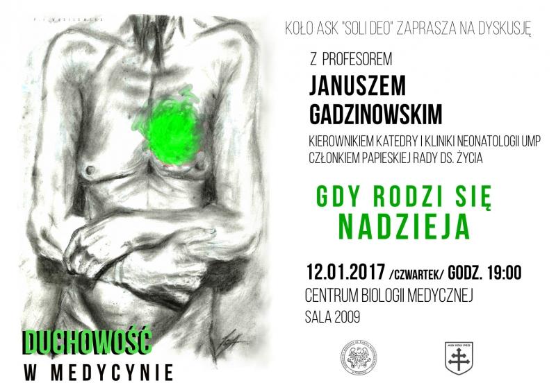 """""""Duchowość w medycynie"""" - spotkanie z profesorem J. Gadzinowskim"""