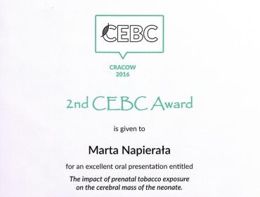 Najlepsza prezentacja podczas 2nd Central European Biomedical Congress