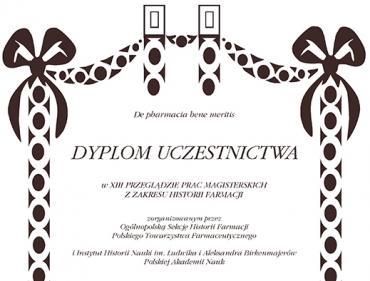 XIII Przeglądu Prac Magisterskich z Zakresu Historii Farmacji