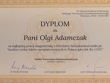 Pierwsza nagroda za najlpeszą pracę magisterską z zakresu farmakoekonomiiki