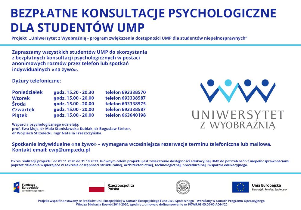 Grafika informująca o konsultacjach psychologicznych