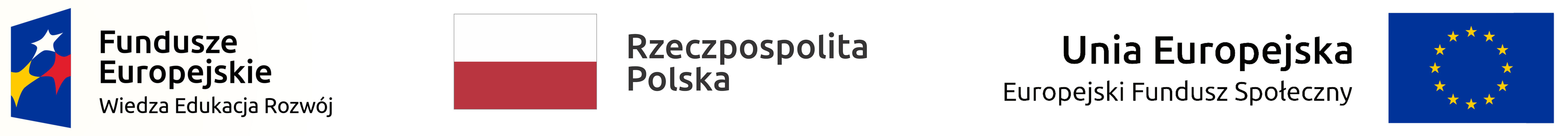Logotypy - Fundusze Europejskie Wiedza Edukacja Rozwój, Rzeczpospolita Polska, Unia Europejska Europejski Fundusz Społeczny