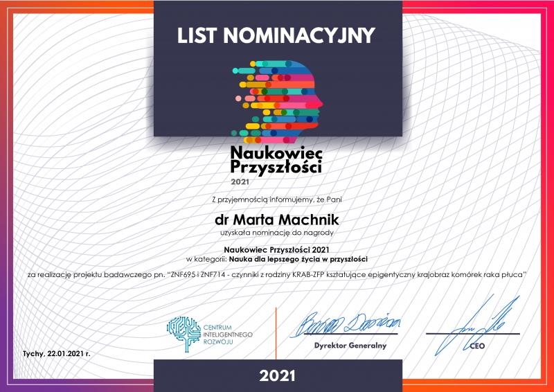 List nominacyjny - Dr Marta Machnik