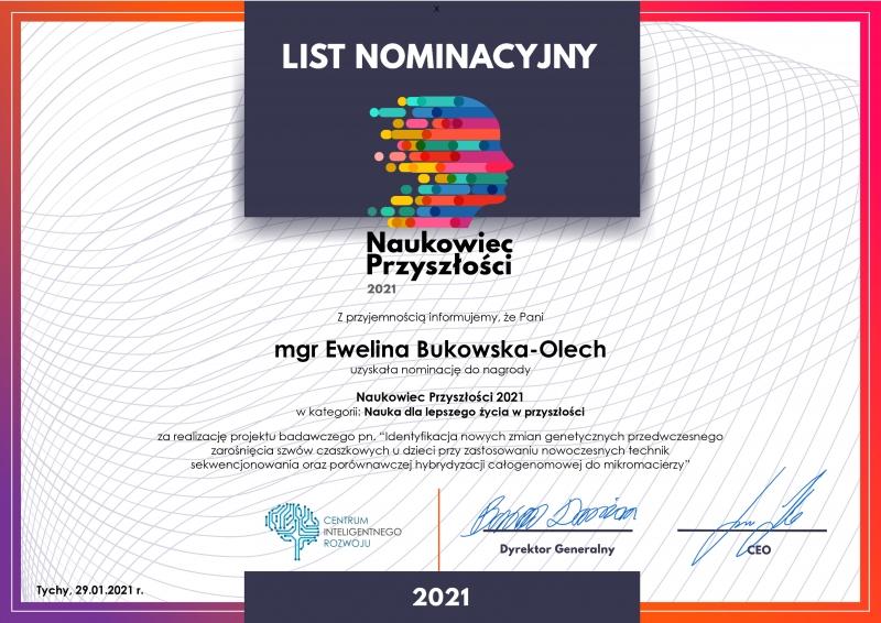 List nominacyjny - Mgr Ewelina Bukowska-Olech