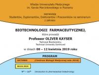 Cykl wykładów z zakresu biotechnologii farmaceutycznej