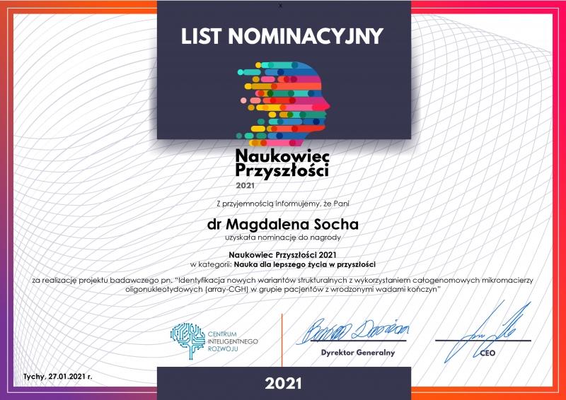List nominacyjny - Dr Magdalena Socha