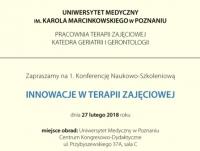"""Konferencja Naukowo-Szkoleniowa """"Innowacje w terapii zajęciowej"""""""
