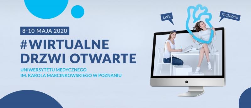 Baner reklamowy. Monitor po prawej stronie. Dziewczyna trzyma niebieskie serce. Po lewej stronie napis Wirtualne Drzwi Otwarte UMP