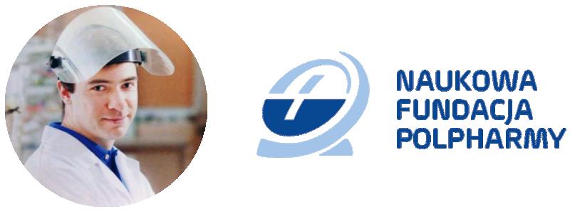Mikołaj Mizera i logo Naukowej Fundacji Polpharmy
