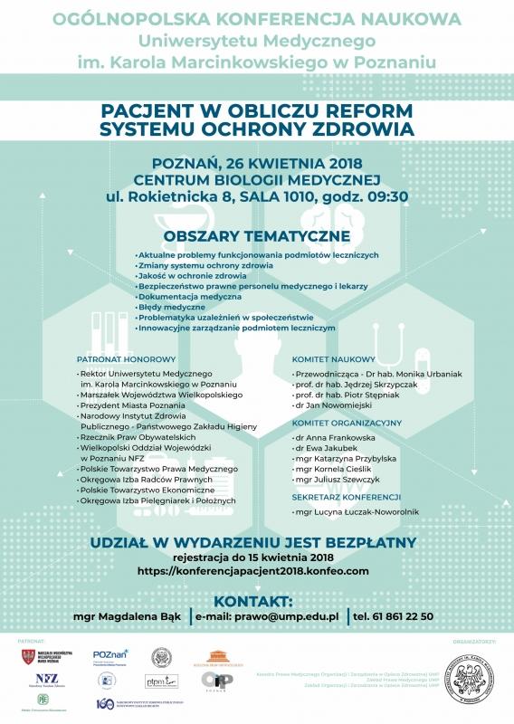 """Ogólnopolska Konferencja Naukowa """"Pacjent w obliczu reform systemu ochrony zdrowia"""""""