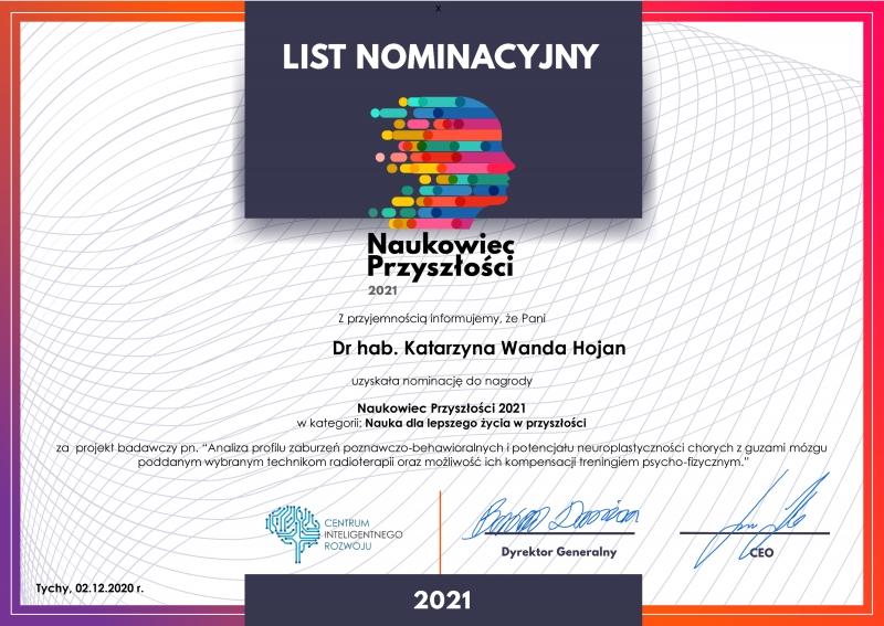 List nominacyjny - Dr hab. Katarzyna Hojan