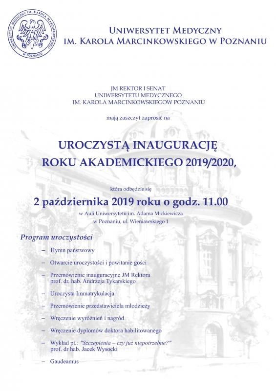 Zaproszenie na Uroczystą Inaugurację Roku Akademickiego 2019/2020