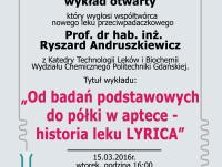 """Wykład otwarty """"Od badań podstawowych do półki w aptece - historia leku LYRICA"""""""